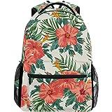 IMOBABY Tropical Hawaiian Plumeria And Hibiscus Flowers School Backpack Book Bag Travel Daypack