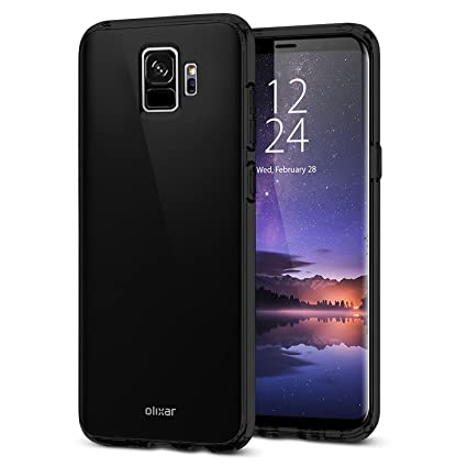 info for a3909 eb8b7 Olixar Samsung Galaxy S9 Case - Silicone Slim Silicone Gel Cover - Ultra  Thin FlexiShield Case - Wireless Charging Compatible - Black
