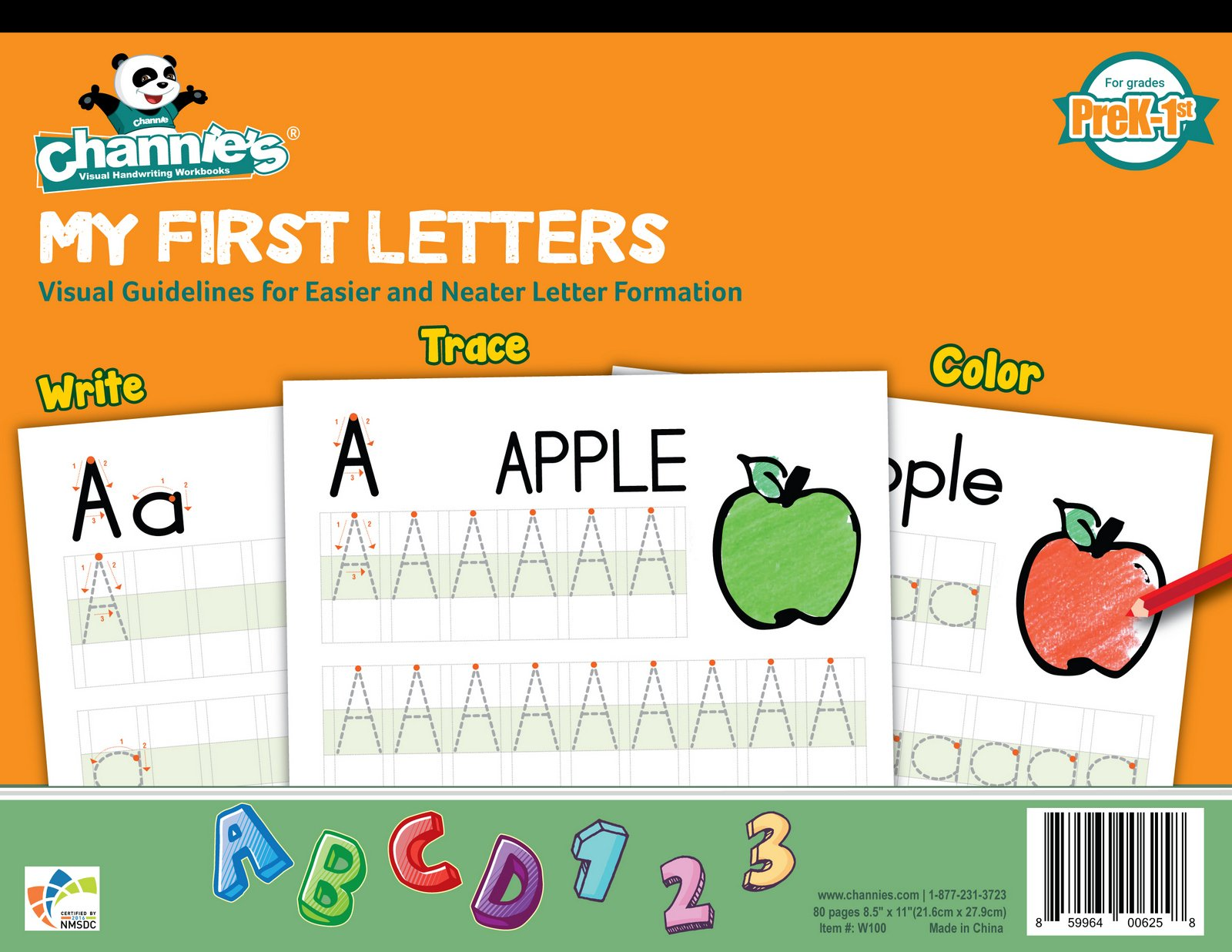 Channie's My First Letters, Easy to Trace, Write, Color, and Learn Alphabet Practice Handwriting & Printing Workbook, 80 Pages Front & Back, 40 Sheets, Grades PreK - 1st, Size 8.5'' x 11'' by Channie's