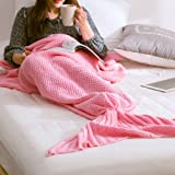 Handmade Knitted Mermaid Tail Blanket, Warm Soft Flexible Stretchable Living Room/Bed Room Leisure Blanket or Sleeping Bag for Adults 190cmX80cm(74.8 inch x31.5 inch )