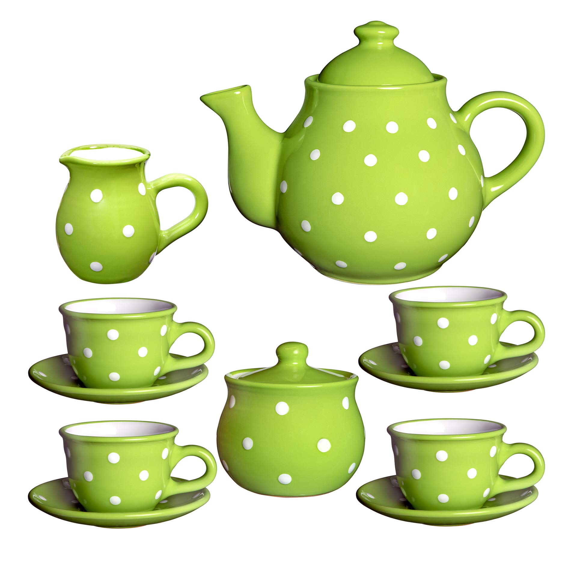 City to Cottage Handmade Green and White Polka Dot Ceramic Teapot Set, Large 1,7l/60oz/4-6 Cup Teapot, Milk Jug, Sugar Bowl, Four Cups and Saucers Tea Set, Pottery Housewarming Gift for Tea Lovers