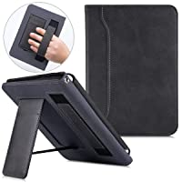 BOZHUORUI Stand Case for All-New Kindle Paperwhite (10th Generation-2018 Release,Model No PQ94WIF) - PU Leather Smart Protective Cover with Hand Strap/Pocket and Auto Wake/Sleep (Black)
