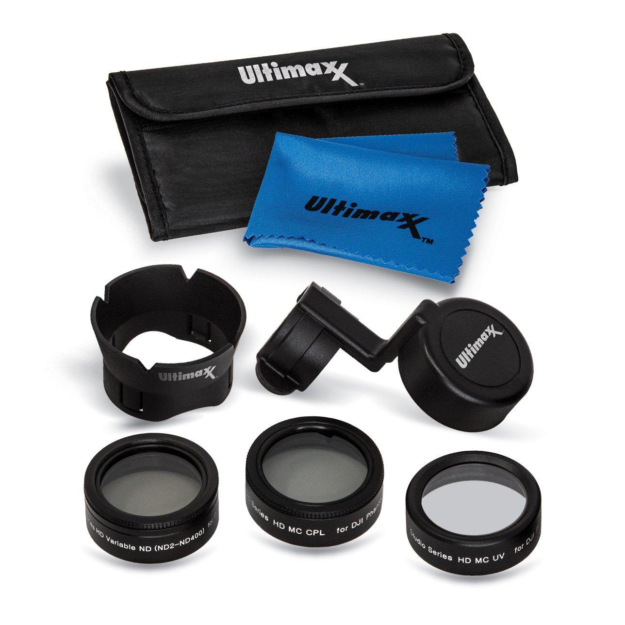 Ultimaxx 7 Pieceドローンカメラフィルタバンドルキットfor DJI Phantom 4 Pro、Phantom 4 Pro +とPhantom 4 AdvanceクアッドコプターW/フィルタ、レンズフード、ジンバルスタビライザー、Carryケース   B07B31T6TJ