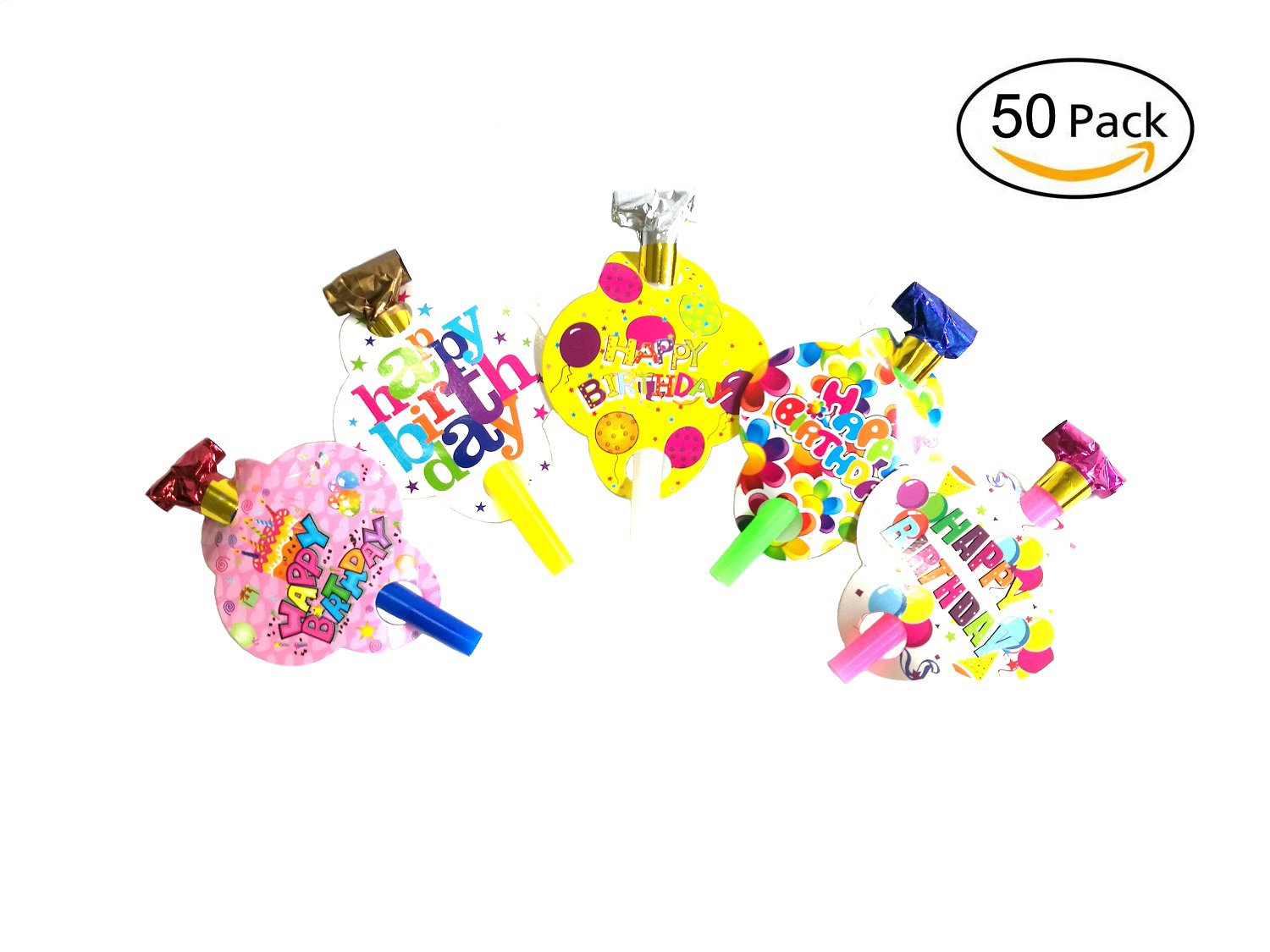 50 pcs Party Horns Party Blowers Noisemakers Whistles Colorful Blowouts (Includes 5 Different Patterns)