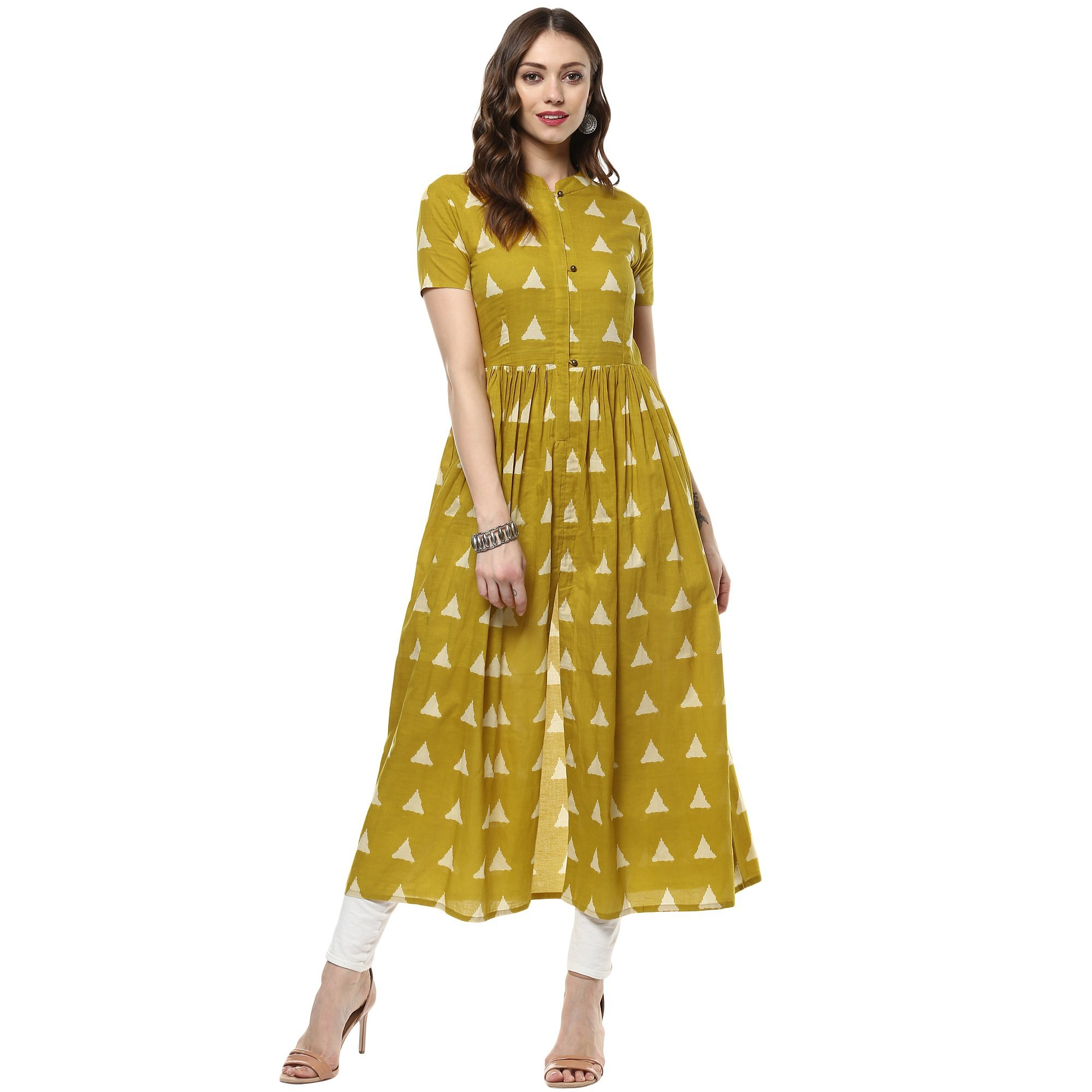 Indian Virasat Women's Printed Long Front Slit Kurta X-Large Mustard Tunic Kurti