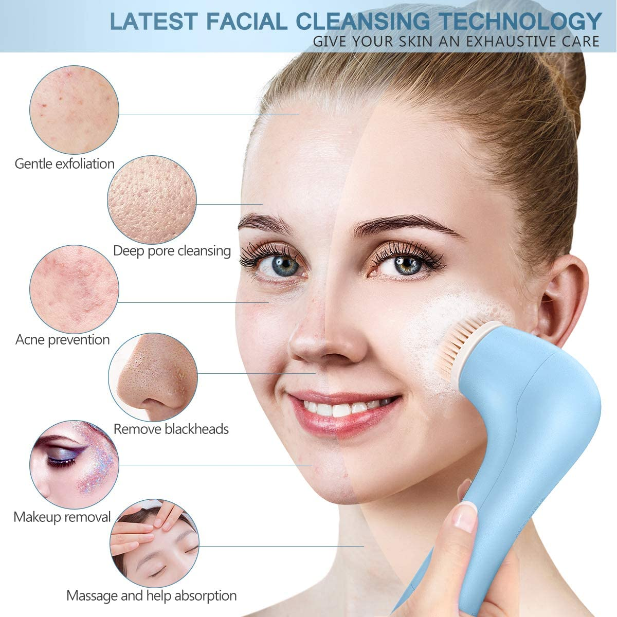 Facial Cleansing Brush Waterproof Face Spin Brush with 7 Brush Heads for Deep Cleansing, Gentle Exfoliating, Massaging,Blue
