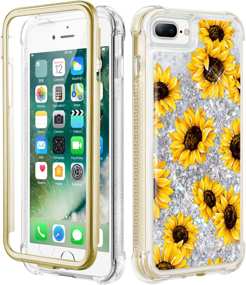 Caka iPhone 8 Plus Case, iPhone 7 Plus Floral Glitter Full Body Case Built in Screen Protector Clear Flower Bling Sparkle Floating Girly Liquid Case for iPhone 6 Plus 6s Plus 7 Plus 8 Plus (Sunflower)