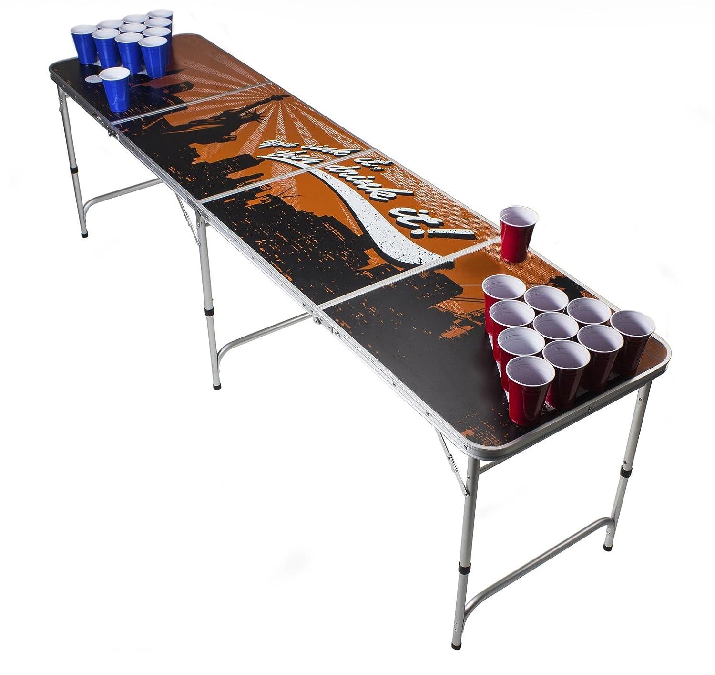Beer Pong Tisch Set -Skyline Design - Beer Pong table inkl. 50 Red Solo Cups und 6 Bälle
