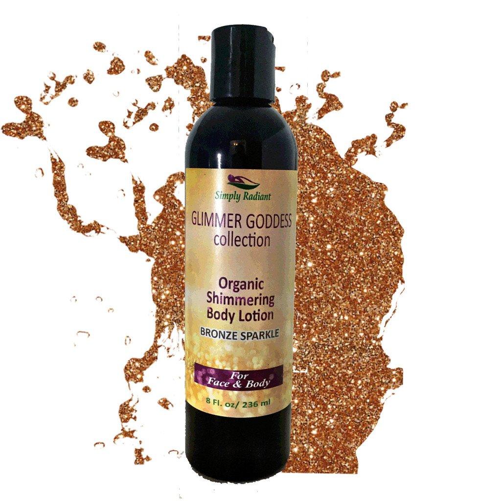Organic Body Shimmer Bronze Shimmer Body Lotion – Shimmer & Sparkle For All Skin Types – Chemical Free Shimmering Moisturizer by Glimmer Goddess