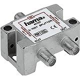 HAMA Distributore SAT 1 F/2 F, 2 Vie, Corpo Metallico, Schermato, 5 Mhz-2400 Mhz, Passaggio Corrente 500 mA