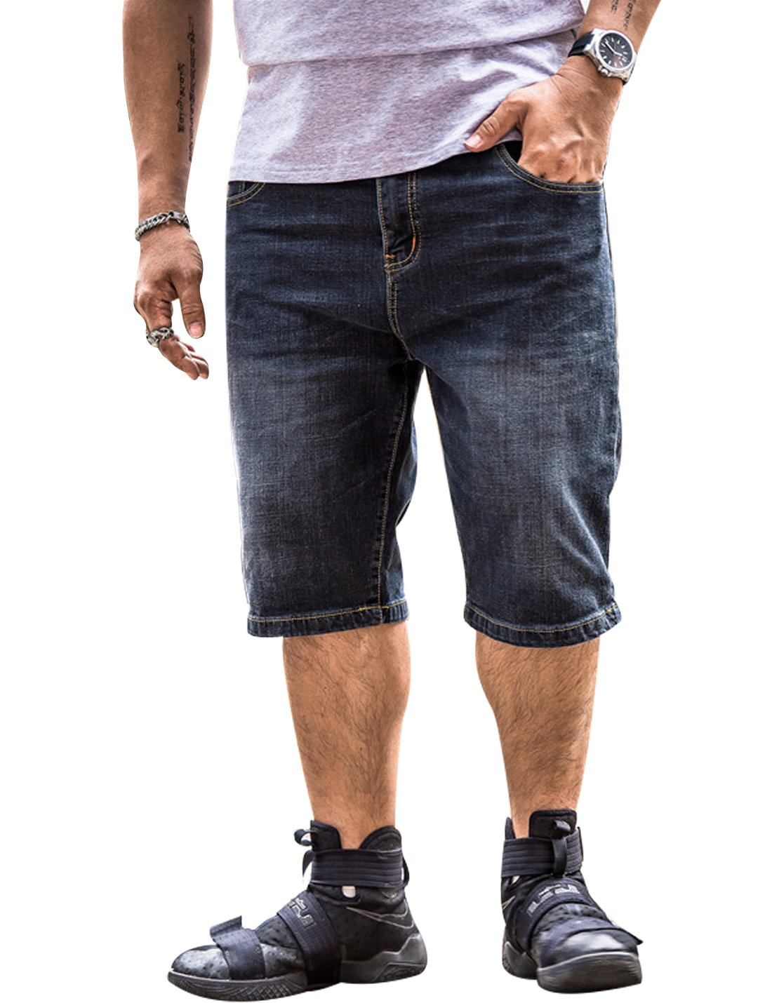 Yeokou Men's Summer Hip Hop Loose Straight Leg Denim Jean Utility Work Short 46W (32, Black)