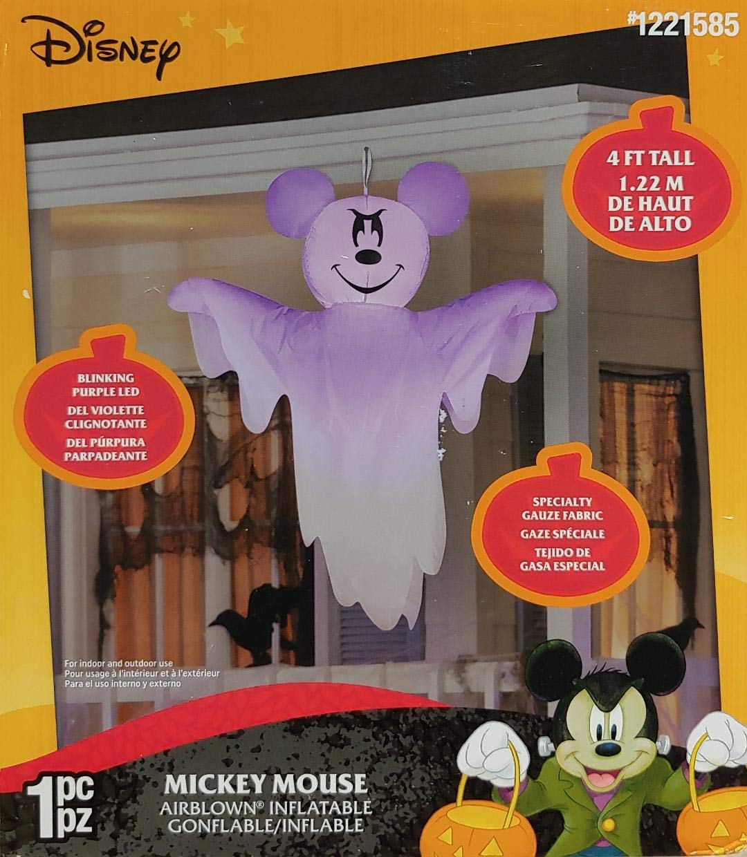 Gemmy 4 Airblown Inflatable Hanging Disney Mickey Mouse as Ghost Yard Decoration