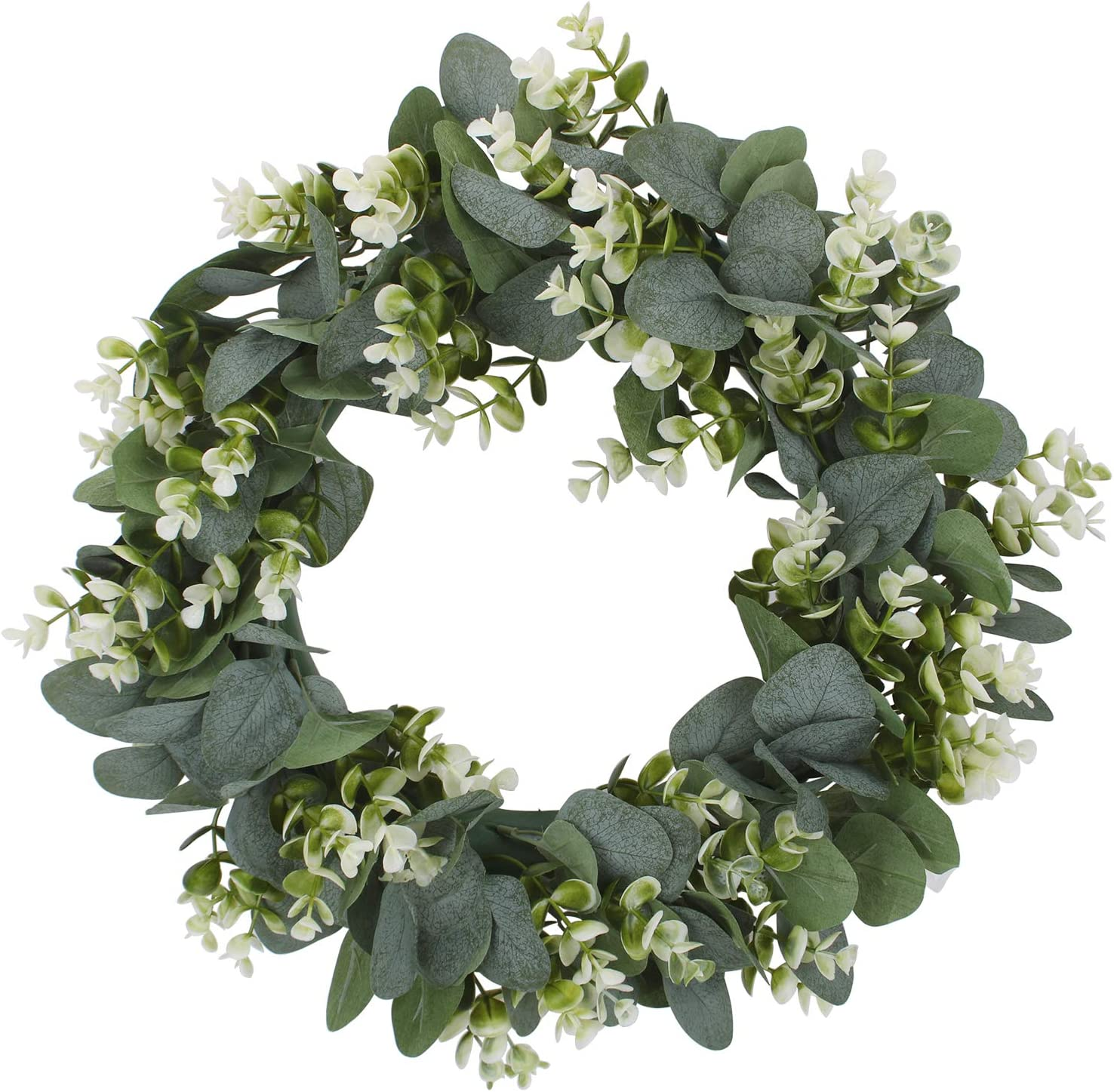 Geboor Artificial Eucalyptus Wreath with Flowers 15inch Faux Green Leaves Eucalyptus Wreath for Front Door Wall Festival Celebration Fireplace Window Party Decor