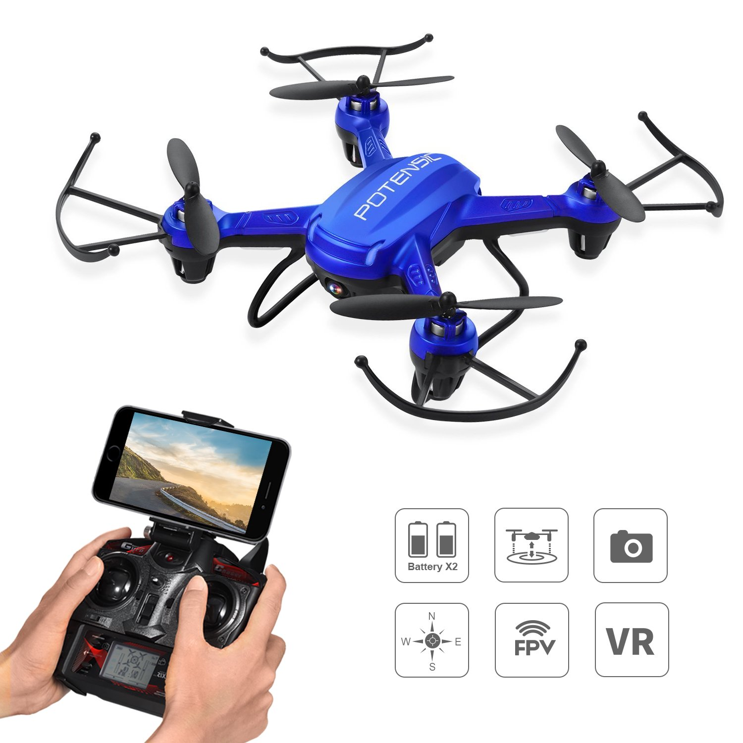 Potensic Drone WIFI F186WH RC Drone RTF Altitudine Hold Mini UFO Quadcopter con telecamera WiFi 2MP -Blu