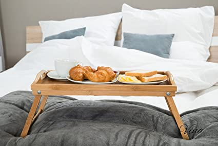 Vina Bamboo Bed Breakfast Tray Table With Folding Legs And Both Sides  Handle, 19u0026quot;