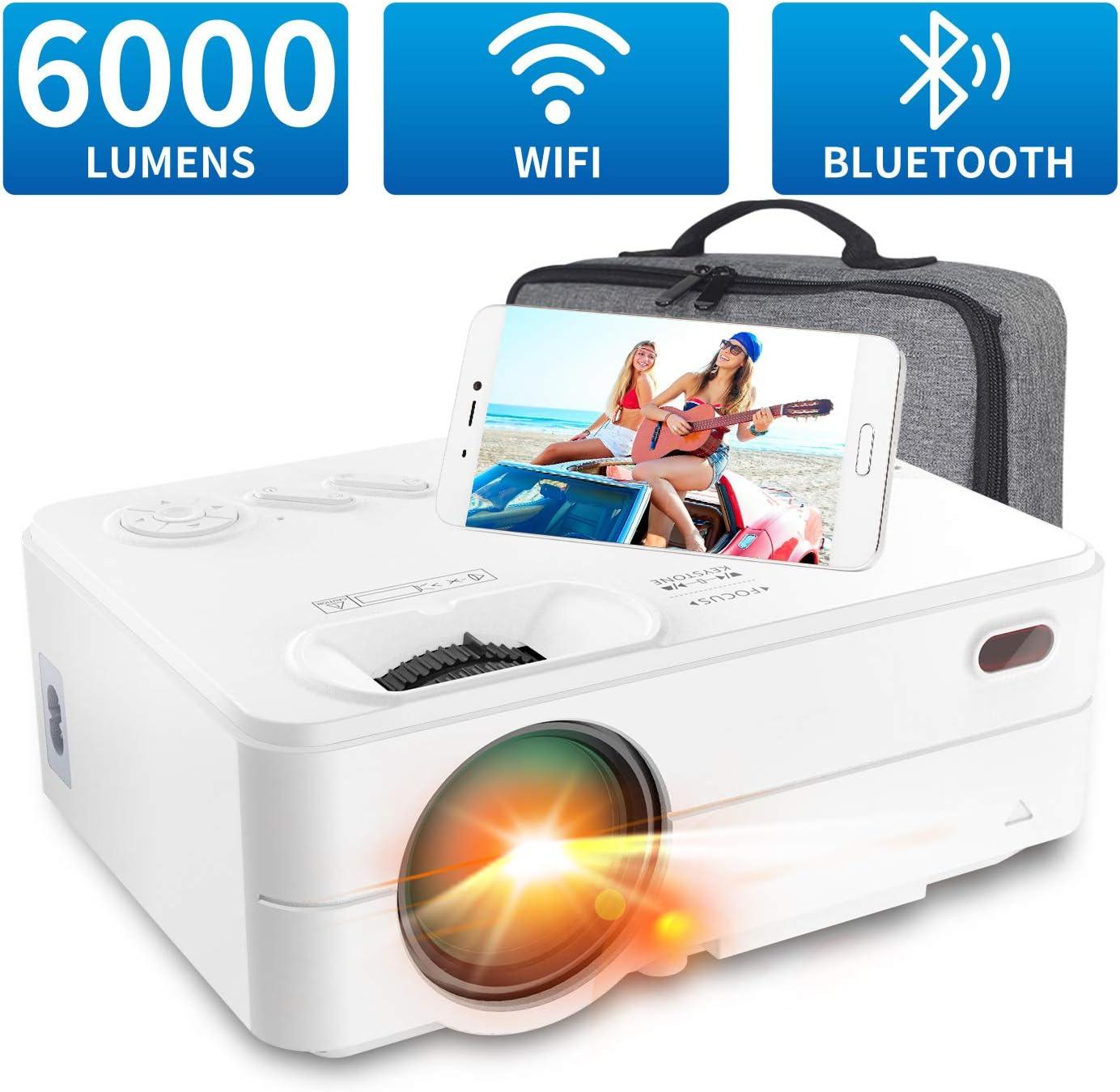 Mini Proyector WiFi Bluetooth 6000 Lúmenes, Artlii Enjoy2 Mini Proyector Portátil Móvil 720P Nativo, 300