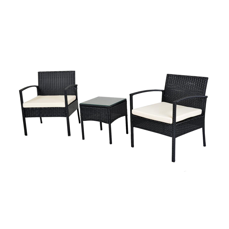EBS® Polyrattan Gartenmöbel Set Gartengarnitur Sitzgruppe Lounge Garnitur 1  Tisch 2 Stühle Weiß Sitzkissen Günstig Bestellen