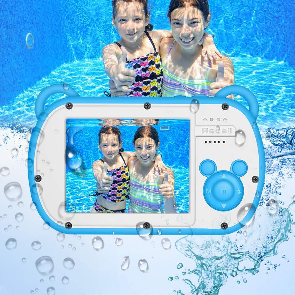 Underwater Camera for Kids, HD 1080P Waterproof Kids Camera, Video Recorder Action Preschool Camera, 8X Digital Zoom Camera with Flash & Microphone Sticker