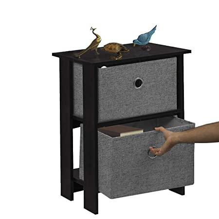 Klaxon Iris Side Table with 2 Fabric Drawer Chest - Black & Grey