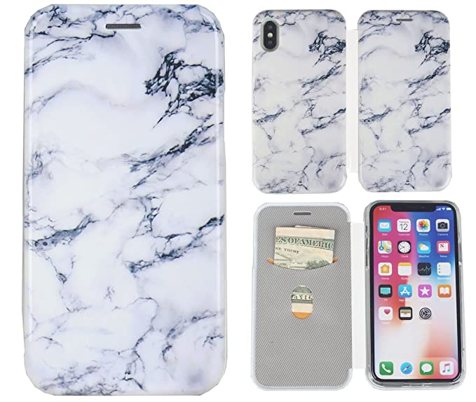 online store 36e5d 770e6 iPhone X Case, iPhone Xs Case, iYCK Marble Design Hard Plastic and Soft  Rubber TPU Bumper Flip Folio Magnetic Closure Card Slot Protective Shell ...