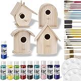 Birdhouse Craft Bundle - 4 Unfinished Wood Birdhouses (5-7 Inches), 10 Acrylic Paints (2-Ounce, Random Colors), 25-Piece…