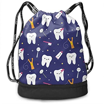 c4eb49ebc Amazon.com | Girls Boys Drawstring Bag Theft Proof Lightweight Beam Backpack,  Swim Shoulder Backpack - Happy Teeth Water Resistant Backpack Soccer ...