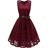 MILANO BRIDE Women's Vintage 1950s Style Floral Lace V-Neck Cocktail Party Dresses Short Length with Sash