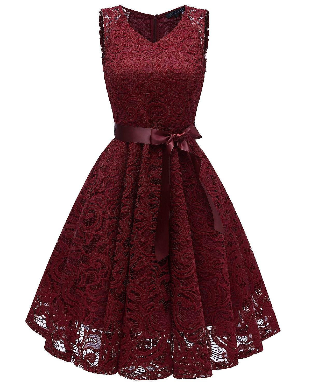 Misshow Spitzenkleid Knielang Vintage 50er Sommerkleid Partykleid Abschlussball Kleider