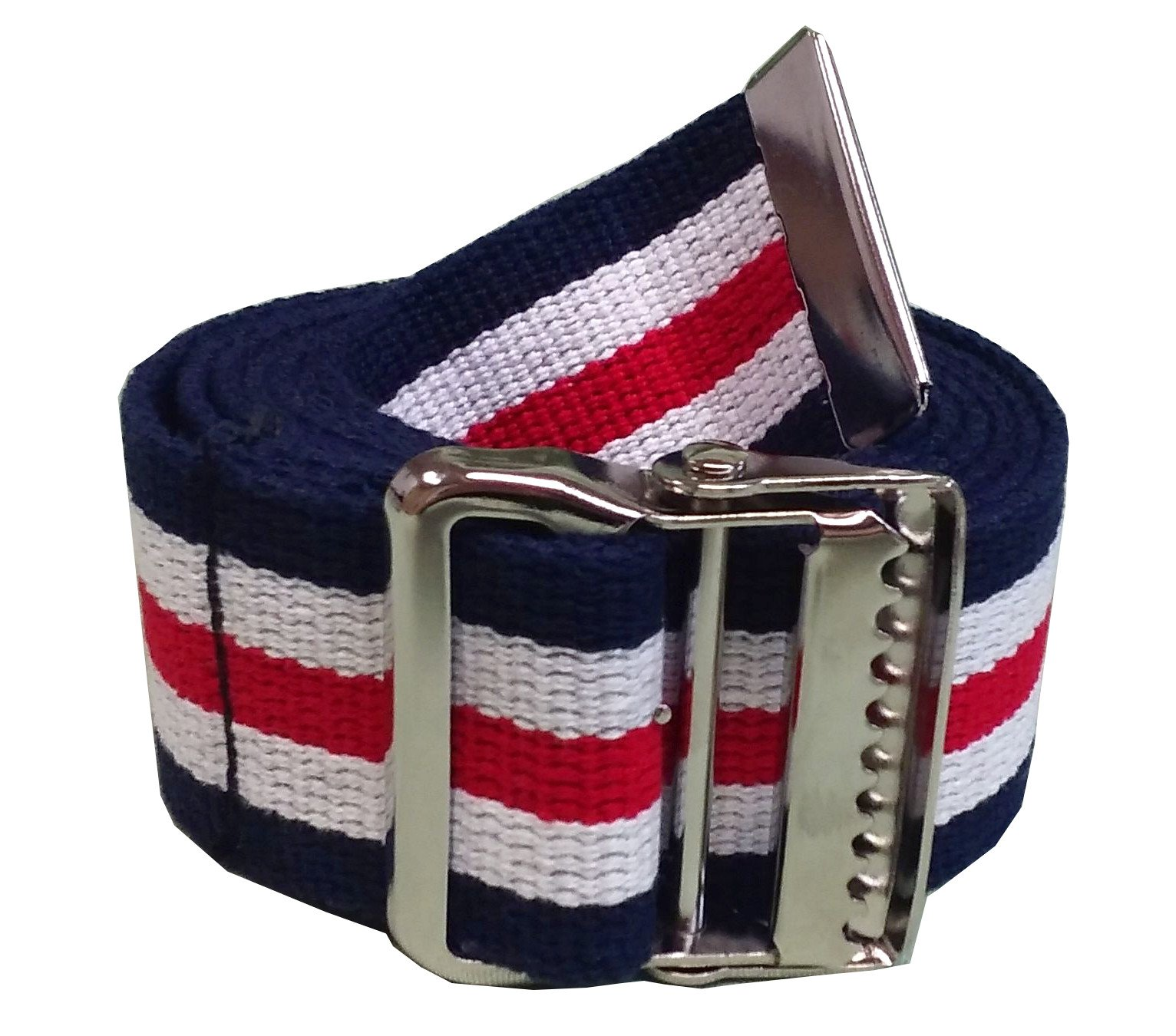 JDM Medical Cotton Gait Belt with Metal Buckle, Red White and Blue (72'')