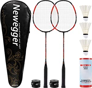 Newegger Badminton Rackets, Badminton Racquets Set of 2 Pack Rackets and 3 Shuttlecocks, Carry Bag, Backyard Badminton Rackets for Adults