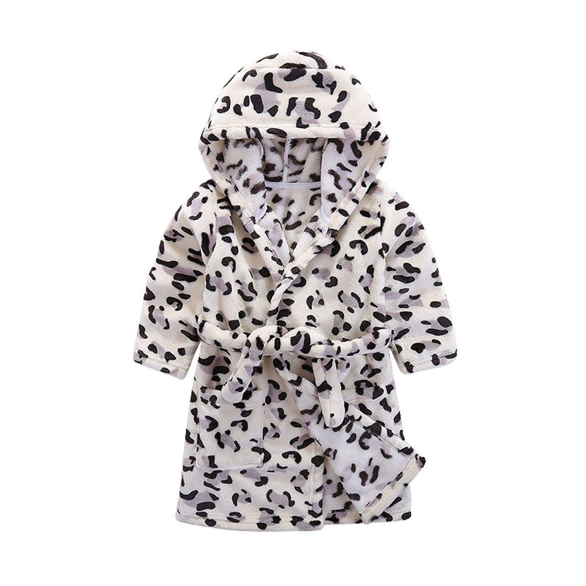 Kids Soft Hooded Bathrobe Toddler Robe Childrens Pajamas Boys Girls Sleepwear