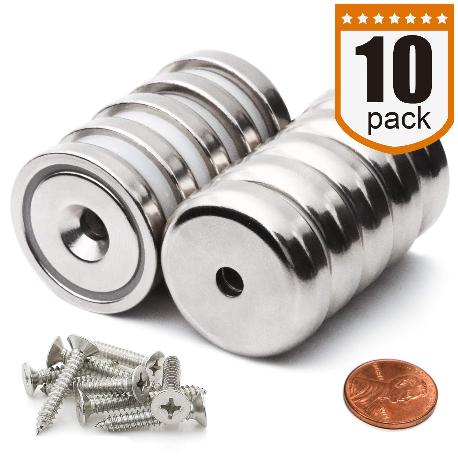 Super Power Neodymium Cup Magnets with 90 lbs Pull Capacity Each, 1.26''D x 0.3''H - Pack of 10