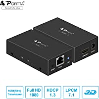 Portta Gold-Plated Connector HDMI Extender 165ft/50m Lossless Transmission over Single UTP CAT5e/CAT6 Cable Support Full HD 1080p and 3D for HDTV PS3 PS4 HD-DVD/DVD/ Blue-Ray Player/Xbox STB PC and More