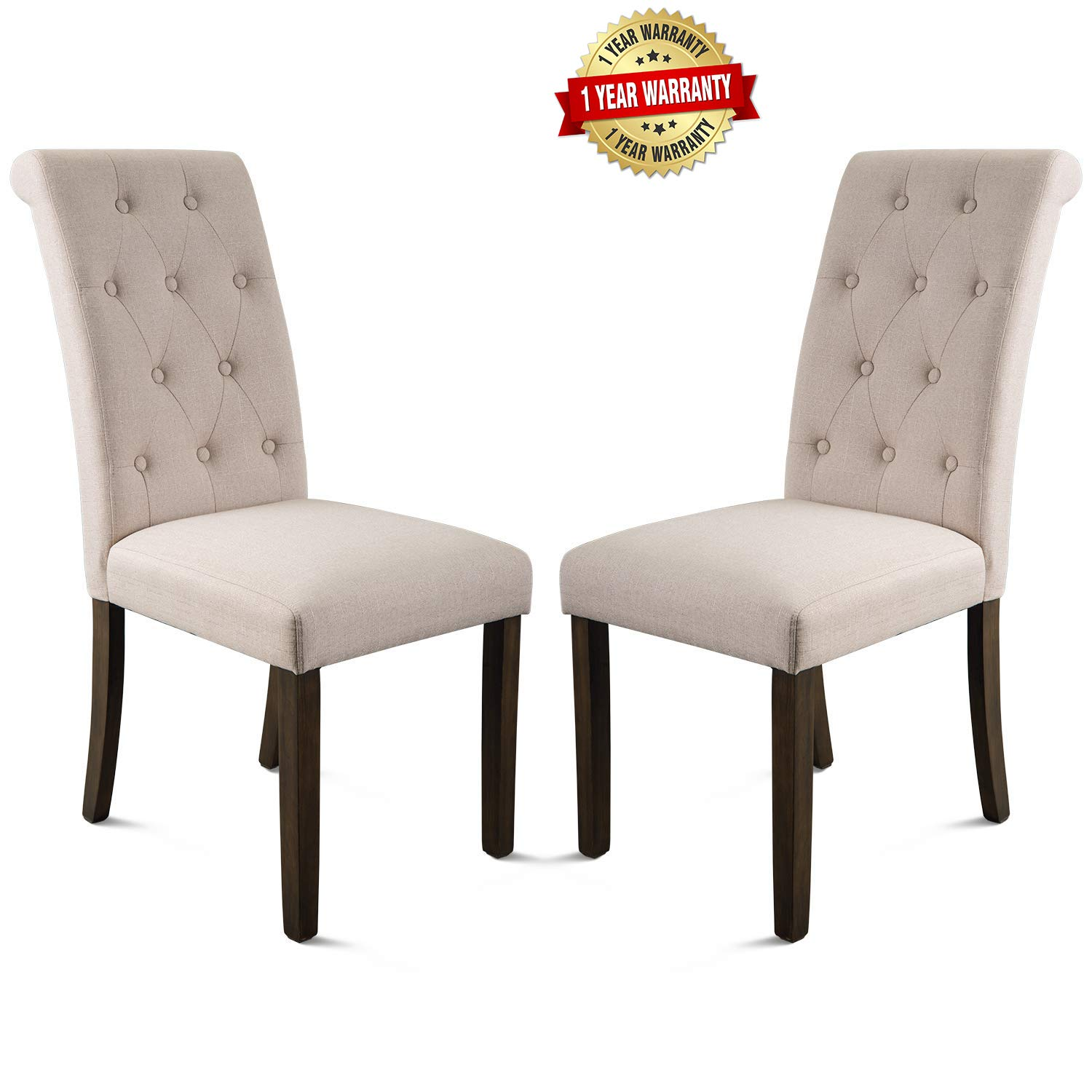 Merax Aristocratic Style Dining Chair Noble and Elegant Solid Wood Tufted Dining Chair Dining Room Set (Set of 2) by Merax
