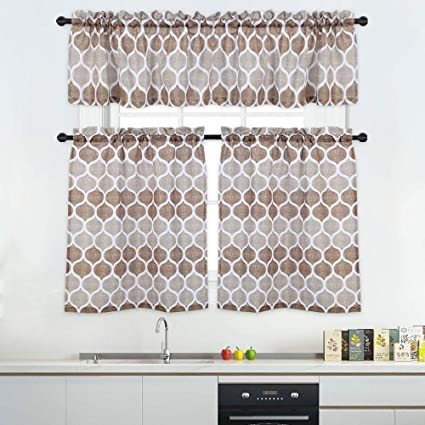 Outstanding 3 Pieces Tier Curtains And Valances Set Moroccan Tile Print Kitchen Cafe Window Curtain Sets Tailored Drapery Lattice Pattern Curtains For Bathroom Home Interior And Landscaping Palasignezvosmurscom