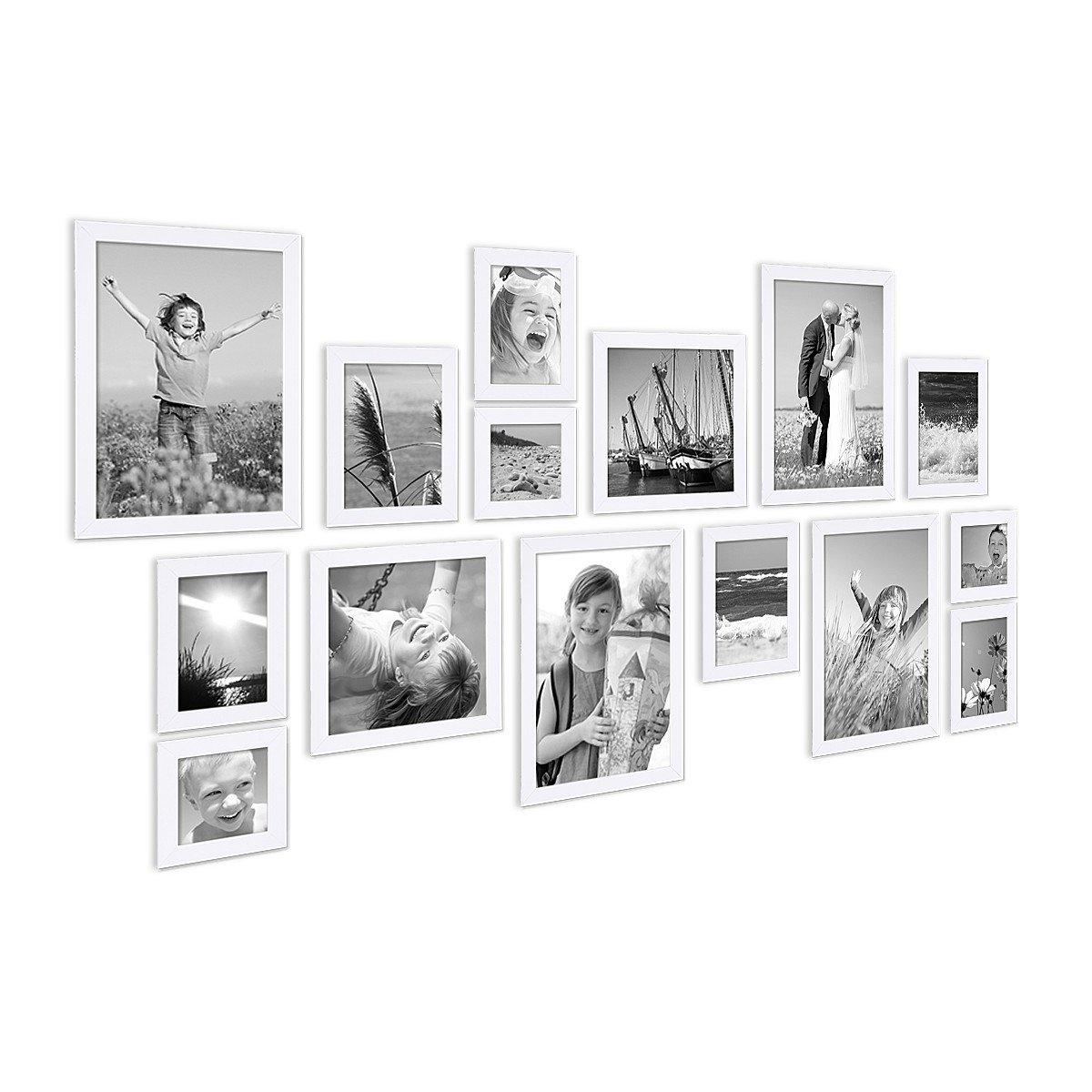 Amazon.de: Photolini 15er Set Bilderrahmen Modern Weiss aus MDF ...