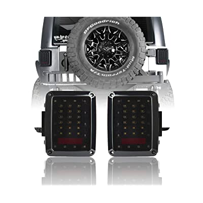 Hooke Road LED Smoke Tail Light Assembles, Replacement Brake Light, Rear Turn Signal Lights for 2007-2020 Jeep Wrangler JK: Automotive