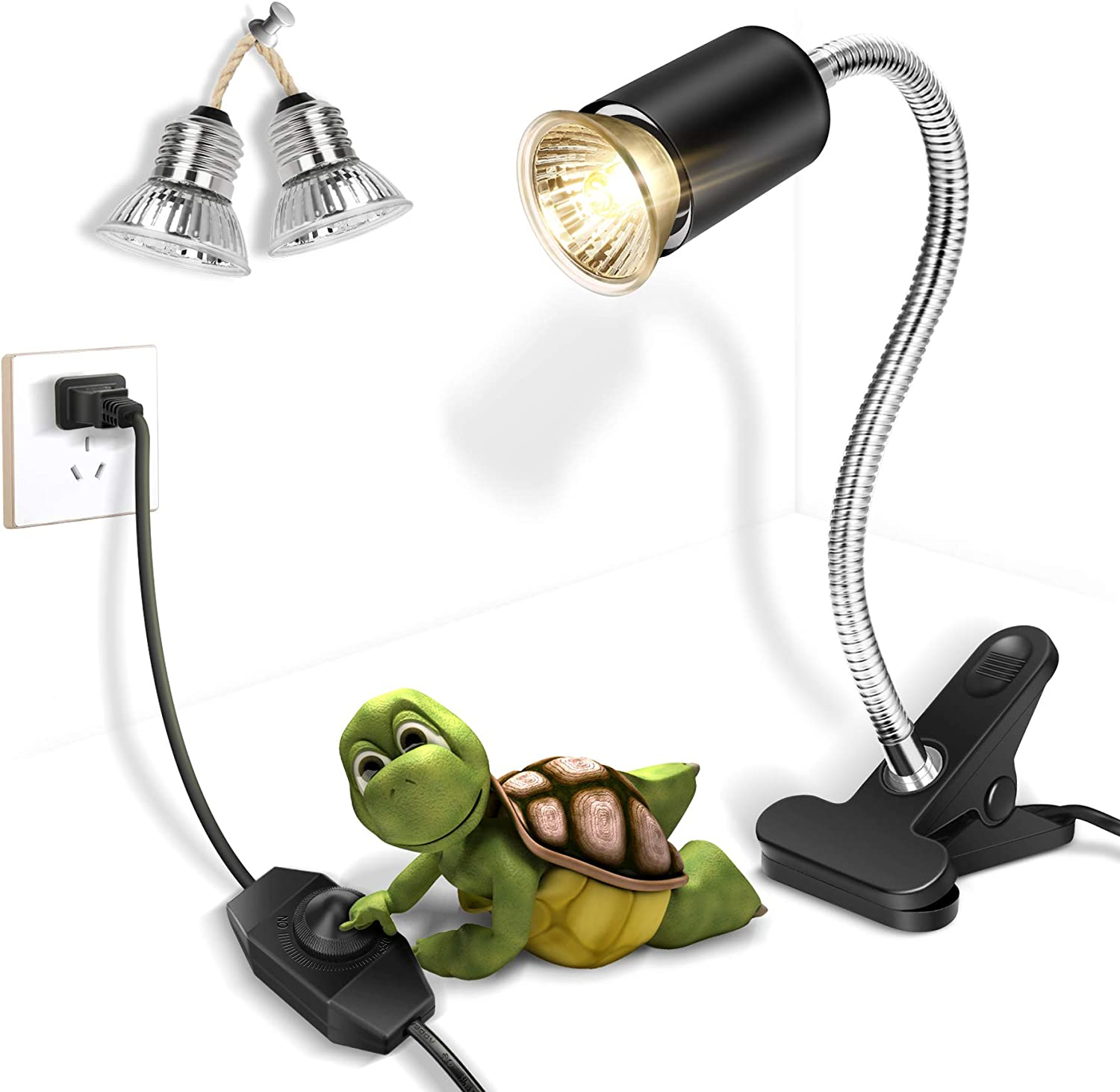Fischuel Reptile UV Bulb,Heating Lamp with Clamp, Adjustable Habitat Basking Heat Lamp ,UVA/UVB Light Lamp 360° Rotatable Clip and Power Adapter for Aquarium(Bulb Included) (E27,110V)