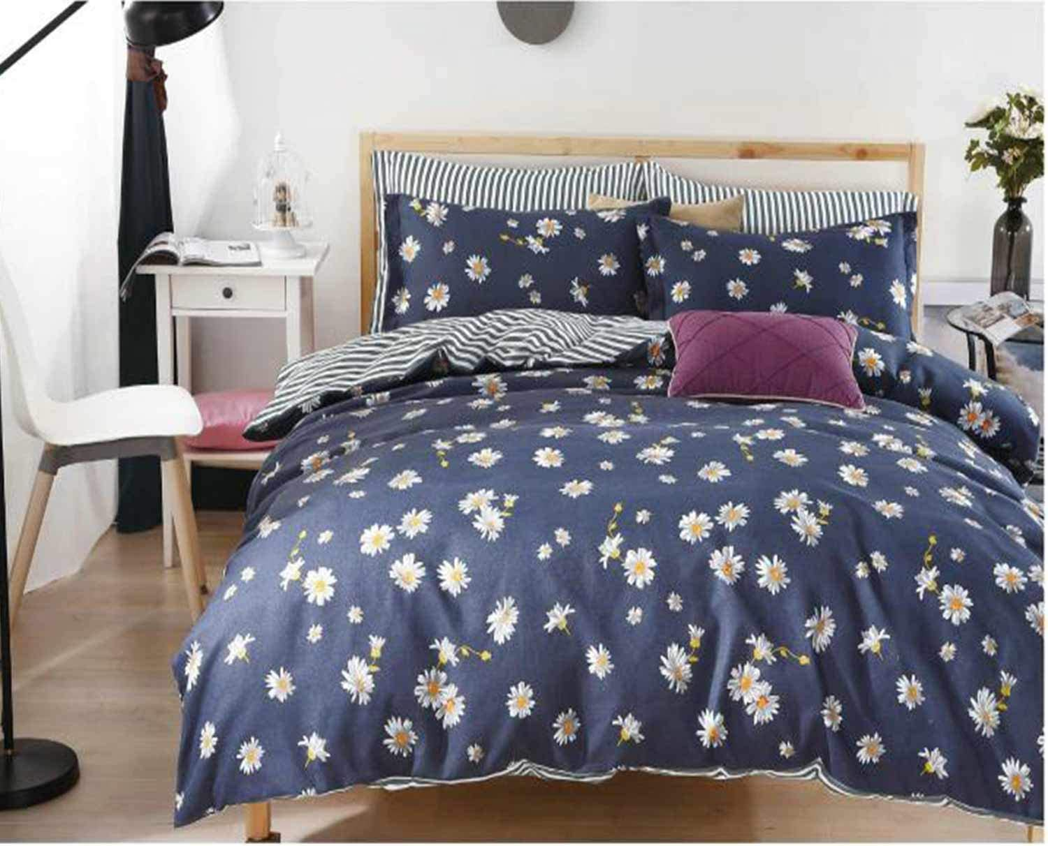 NANKO Daisy Duvet Cover Queen Size 3Pc 90x90 inch Floral/Flower Lightweight Microfiber Down Comforter Quilt Bedding Cover with Zipper Ties for Women,Navy Blue Striped Farmhouse Style