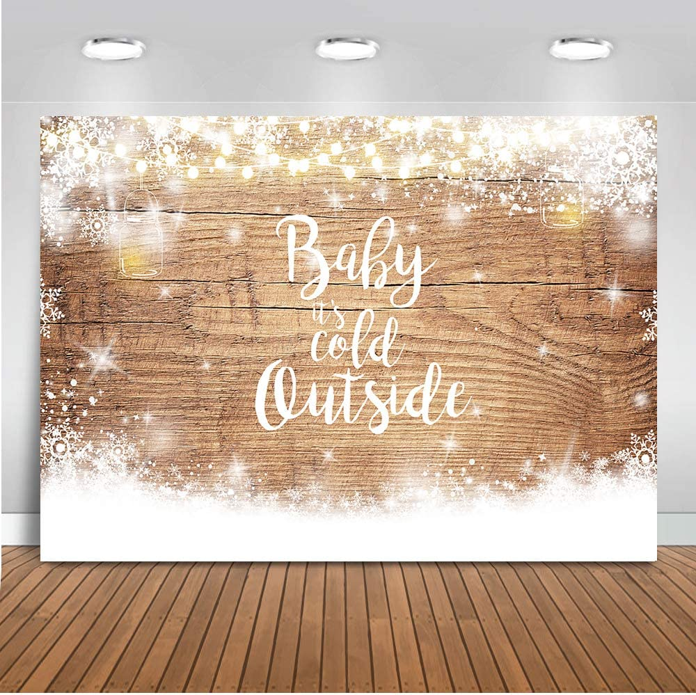Mocsicka Baby It's Cold Outside Backdrop Winter Snowflake Baby Shower Photography Background 7x5ft Vinyl Wood Floor Winter Baby Shower Backdrops