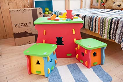 (Ispace) EVA Foam Table And Chair 3 Pcs Set For Children. Soft,