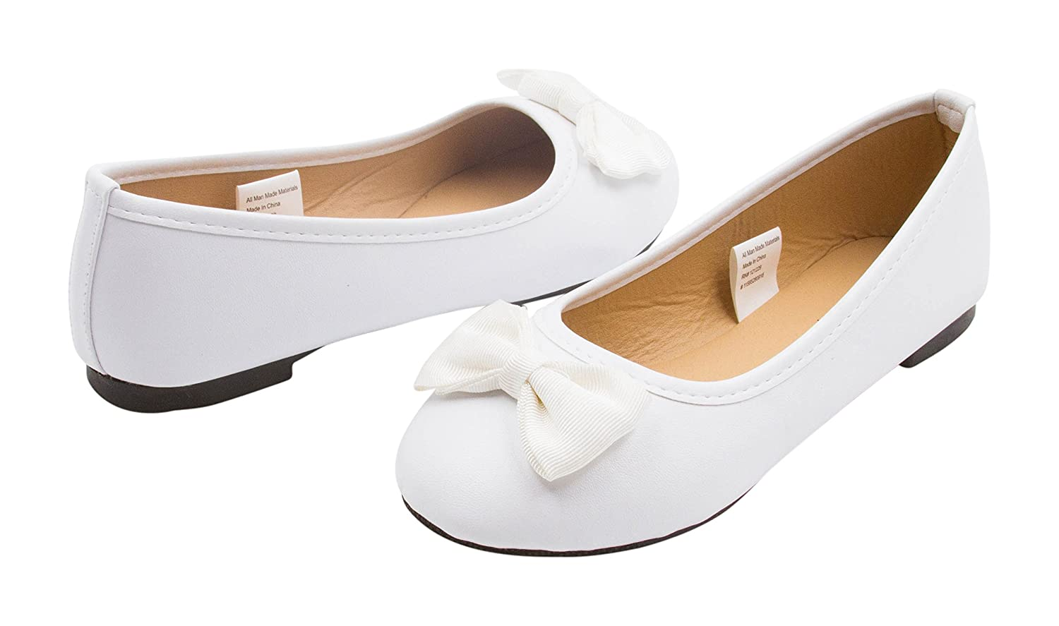 Girls Ballet Flats Round Toe Embellished with Grosgrain Bows Slip-On Shoes Flexible PU Leather White Sara Z