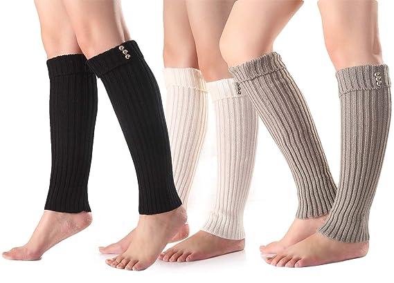 Santwo Women Winter Warm Crochet Knitted Boot Cuff Sock Short Leg Warmer 3 Pairs by Santwo