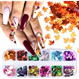 Fall Maple Leaves Nail Art Glitter Autumn Designs Nail Sequins Paillette 3D Sparkly Nail Flakes Maple Gold Holographic…