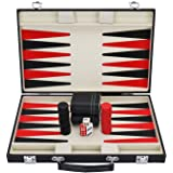 Backgammon Set with Travel Leatherette Carrying Case for Kids and Adults Black and Red