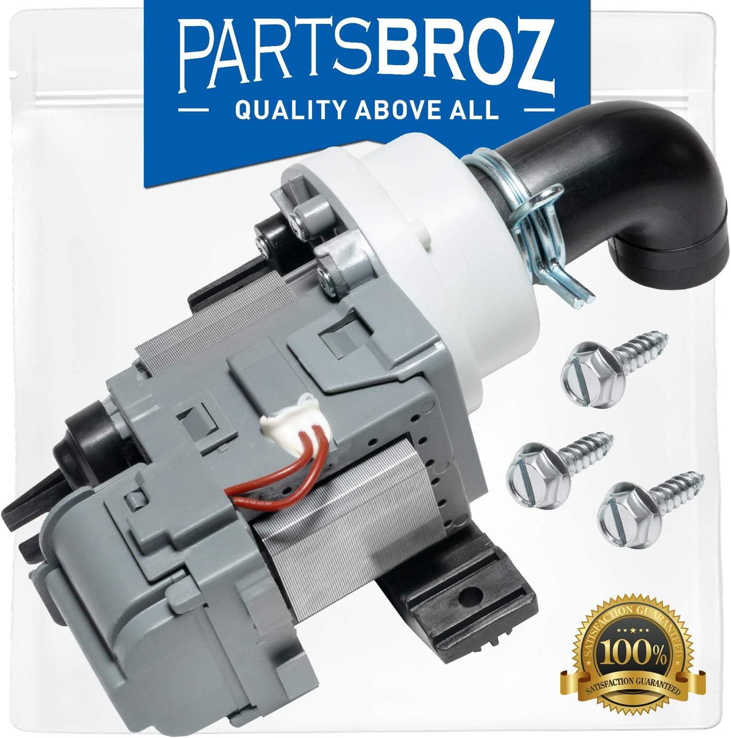 W10536347 Drain Pump for Whirlpool Washing Machines by PartsBroz - Replaces Part Numbers AP5650269, 2392433, 8542672, PS5136124, W10049390, W10155921 & W10217134