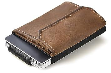 exklusives Sortiment beste Turnschuhe Exklusive Angebote JAIMIE JACOBS Minimalist Wallet Nano Boy Pocket Mini Geldbörse aus Textil  mit Zugband schmaler Kartenhalter für Herren und Damen (Büffelleder Braun)