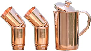 HealthGoodsIn - Pure Copper (99.74%) Pitcher with 4 Copper Tumblers | Copper Pitcher and Tumbler Set for Ayurveda Health Benefits