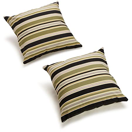 Blazing Needles All-Weather UV-Resistant Outdoor Knife Edge Pillows Set, Set of 2, 20 , Eastbay Onyx