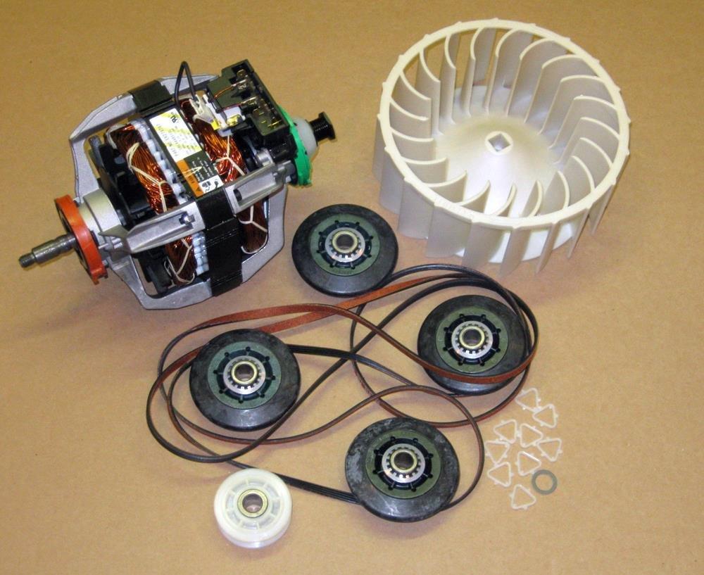 Major Appliances COMBO12 279787 Dryer Motor 4392067 Belt Kit 697772 Wheel for Whirlpool Kenmore